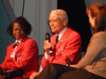 Tuskegee Airman speaking to youth in the audience about his experience.