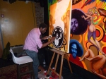Artist Aniekan Udofia live painting Black President's Day Celebration